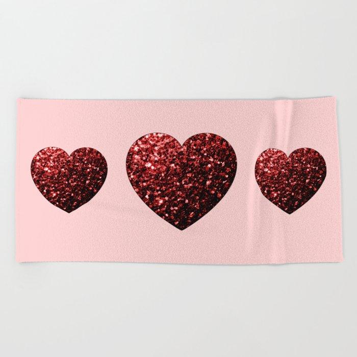 Red Glitter sparkles Heart Beach Towel