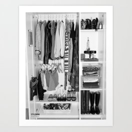 Black and White Closet  Art Print