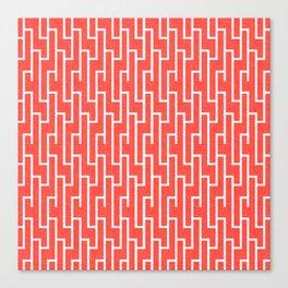 Red Aand White Latticework Pattern Canvas Print