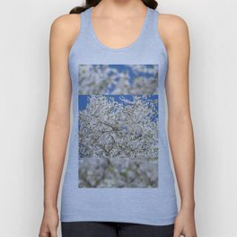 white flowers of Cerasus Unisex Tank Top