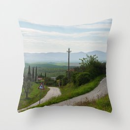 Winding roads in green hills Tuscany, Italy Throw Pillow