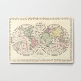Vintage Map of The World (1856) Metal Print
