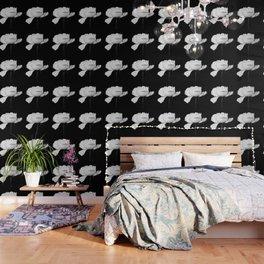 White Peony Black Background Wallpaper