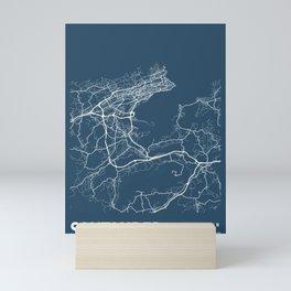 Santander Blueprint Street Map, Santander Colour Map Prints Mini Art Print