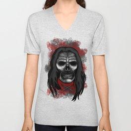 Machete Style Errorface skull Unisex V-Neck