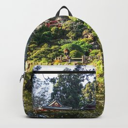 Japanese Garden | Golden Gate Park Traditional Tea House Architecture Design Trees and Pond Backpack