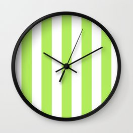 Inchworm green - solid color - white vertical lines pattern Wall Clock
