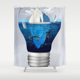 Iceburg in a Light Bulb Shower Curtain