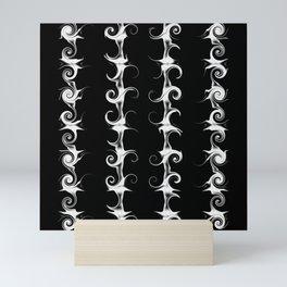 Gothic Black and White Linear Curlicue Pattern Mini Art Print