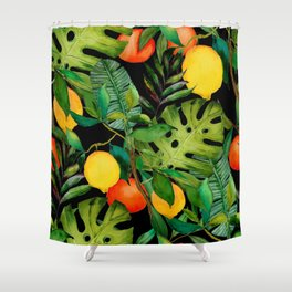 Watercolor seamless pattern with tropical leaves and citrus fruits. Fashion botanical print.  Shower Curtain