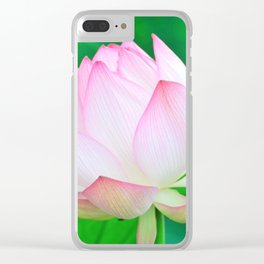 Lotus Lily Pink & Green Clear iPhone Case