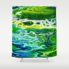 Blue waves and green grass Shower Curtain