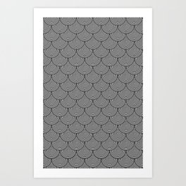 Hypnotic Black and White Circle Scales Pattern - Graphic Design Art Print