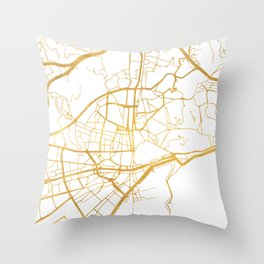 MALAGA SPAIN CITY STREET MAP ART Throw Pillow