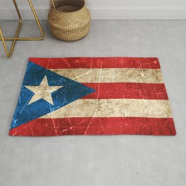 Vintage Aged and Scratched Puerto Rican Flag Rug