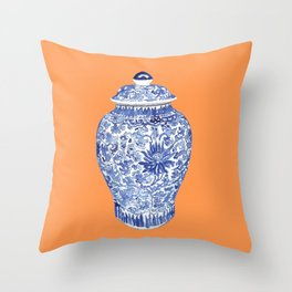 GINGER JAR ON TANGERINE  Throw Pillow