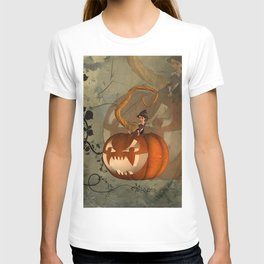 Funny pumpkin with little witch T-shirt