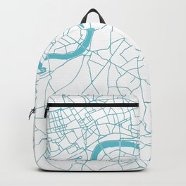 London White on Turquoise Street Map Backpack