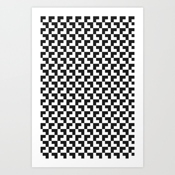 Black and White Tessellation Pattern - Graphic Design Art Print