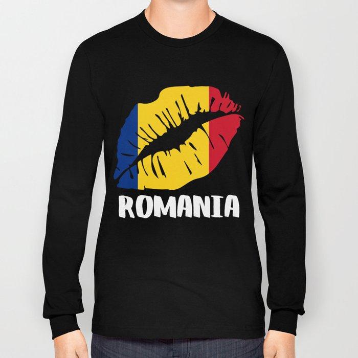ROU Romania Kiss Lips Shirt Long Sleeve T-shirt