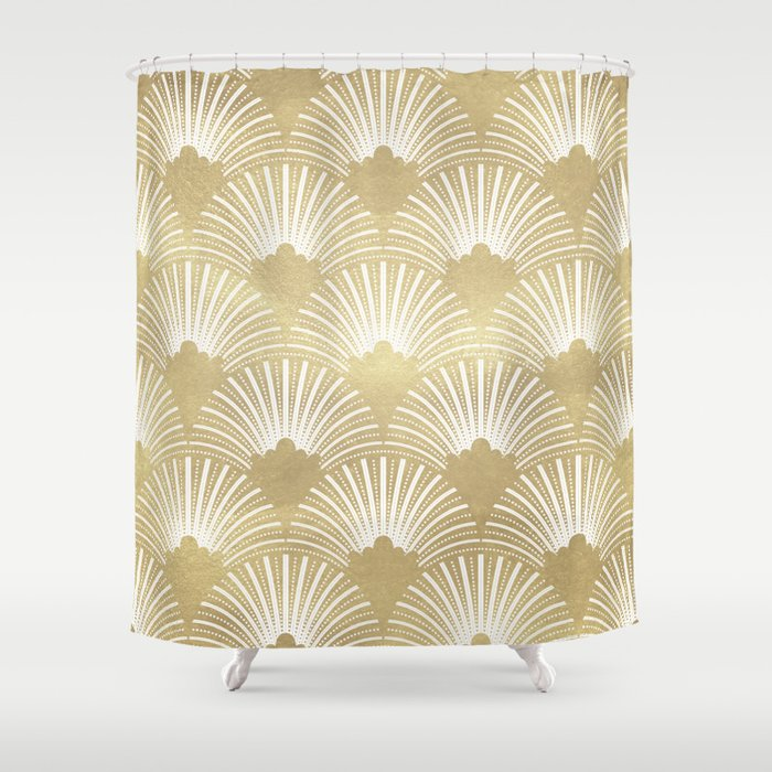 Gold Foil Look Art Deco Pattern Shower Curtain