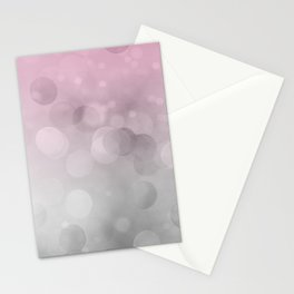 Pink  Grey Soft Gradient Bokeh Lights Stationery Cards