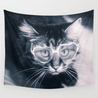 sunglasses Wall Tapestries featuring Kitty with sunglasses by PhotoStories