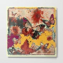 Artistic Monarch Butterflies Design Rustic Pattern Metal Print