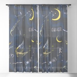 Ravenclaw Collage  Sheer Curtain
