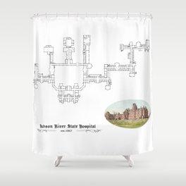 Hudson River State Hospital Blueprint Print Shower Curtain