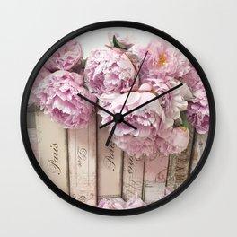 Shabby Chic Pink Peonies Paris Books Wall Art Print Home Decor Wall Clock