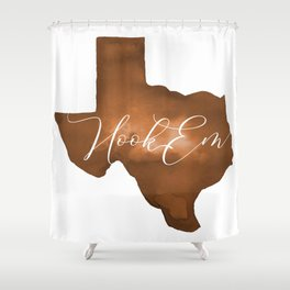 Texas Longhorn Hook Em Watercolor Shower Curtain