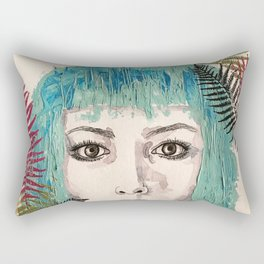 Blue-haired girl with leaves Rectangular Pillow