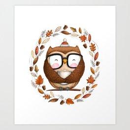 Fall Ready Owl- Illustration Art Print