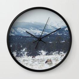 Elk herd in the Rockies Wall Clock