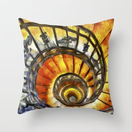 Spiral Staircase Van Gogh Throw Pillow