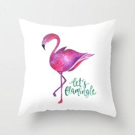 Let's Flamingle! —Version 1 Throw Pillow