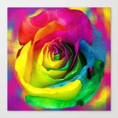 Rainbow Rose Colourful Background Canvas Print
