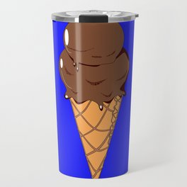 A Chocolate Ice Cream Cone with Blue Background, Summer Fun Travel Mug