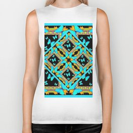Decorative Western Style Turquoise Butterflies  Black Gold Patterns Biker Tank