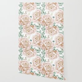 Pretty Blush Pink Roses Flower Garden Wallpaper