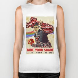 Take your scarf! It is cold outside Biker Tank