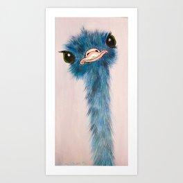 Blue Ostrich Art Print