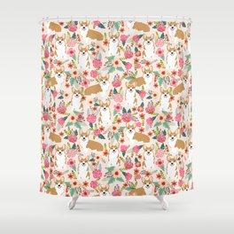 Corgi Florals - vintage corgi and florals gift great for corgi lovers Shower Curtain
