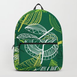 Lovely green leaves pattern illustration Backpack