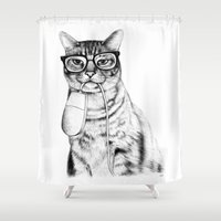 hipster Shower Curtains featuring Mac Cat by florever