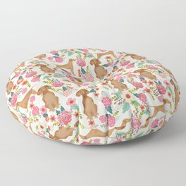 Vizsla florals dog pattern dog gifts dog breeds pet portraits by pet friendly Floor Pillow