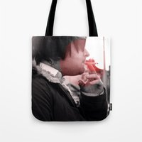 smoking Tote Bags featuring Smoking by Michael Larkin