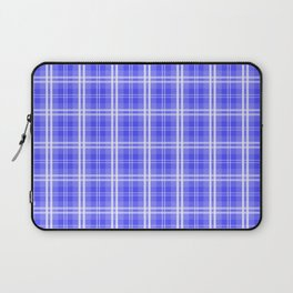 Bright Neon Blue and White Tartan Plaid Check Laptop Sleeve