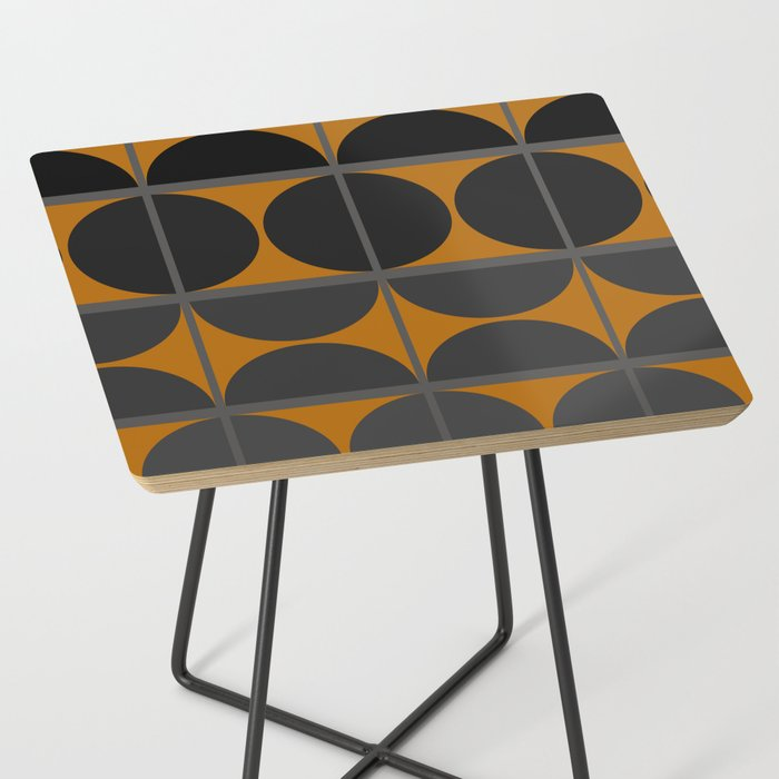 Black and Gray Gradient with Gold Squares and Half Circles Digital Illustration - Artwork Side Table